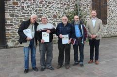 Ehrung anlässlich der JHV des LV in Wolmirstedt von li: Manfred Freitag, Günter Horst, Hans-Jürgen Fieber, Fritz Drüen, Mike Hennings