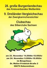 Plakat zur 28. Burgenlandschaft mit einem Hermelin und den 3 Mitteldeutschen Bundesländern