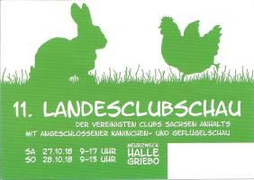 Plakat zur 11. Landesclubschau zeigt ein Kaninchen und ein Huhn in Grün-Weiß