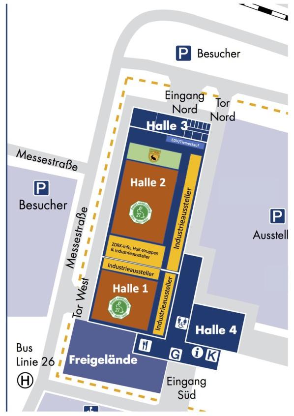 Bild zeigt den Grundriss der Messe-Hallen mit der aktuellen Einteilung