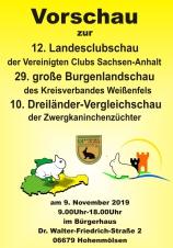 Plakat zur 12. Landes-Clubschau der Kaninchenzüchter in Hohenmölsen